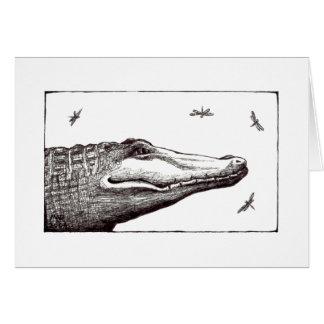 Alligator or crocodile dragonflies fun art drawing card