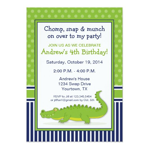 Bounce Sporting Club S 3rd Anniversary Party With Surprise: Personalized Alligator Birthday Invitations