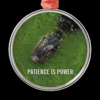 Alligator • Patience is Power • Mirror Hanger Metal Ornament