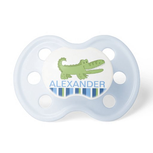 Alligator Personalized Baby Pacifier - Green/Blue
