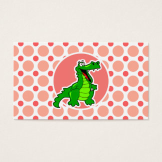 Alligator; Pink & Coral Polka Dots Business Card