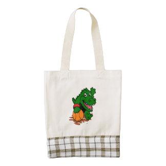 Alligator playing basketball zazzle HEART tote bag
