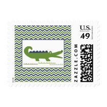Alligator Postage Stamps Green/Blue Chevron