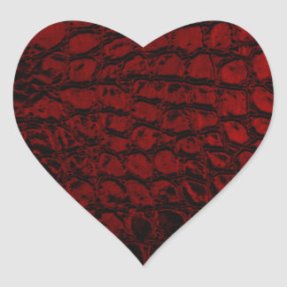 Alligator Red Faux Leather Heart Sticker