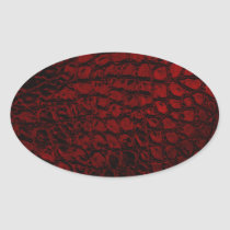 Alligator Red Faux Leather Oval Sticker