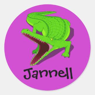 alligator round stickers
