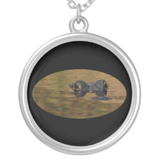 alligator silver plated necklace