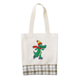 Alligator skating with hat and scarf zazzle HEART tote bag
