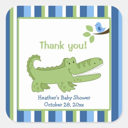 Alligator Square Favor Stickers - Blue/Green