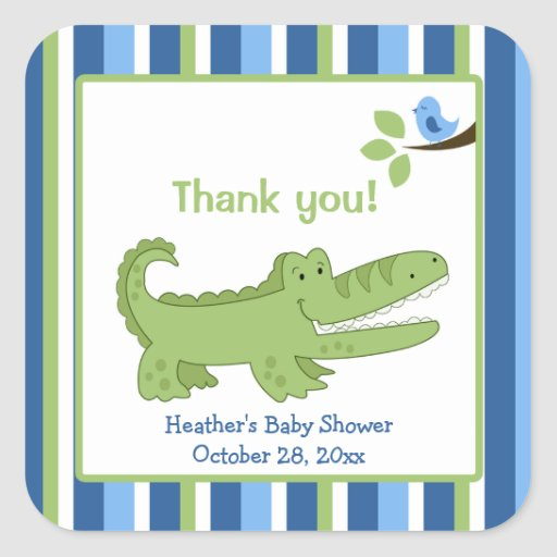 Alligator Square Favor Stickers - Blue/Green