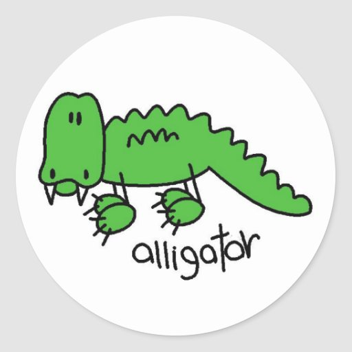 Alligator Stick Figure Stickers Sticker