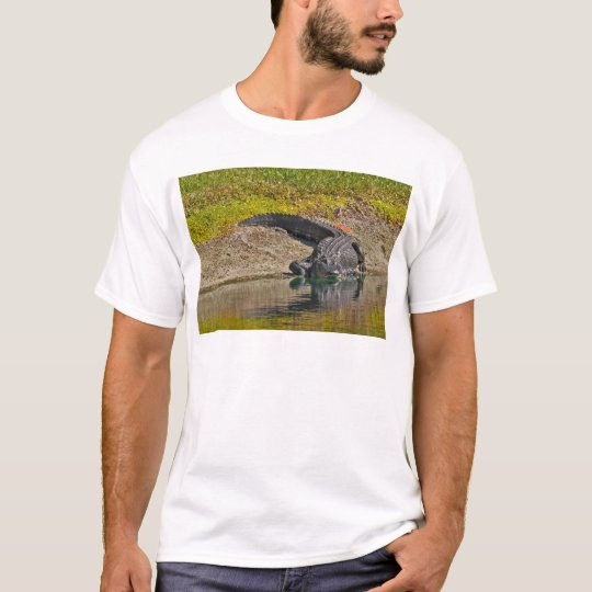 Alligator Sunning On The Bank of a Pond T-Shirt