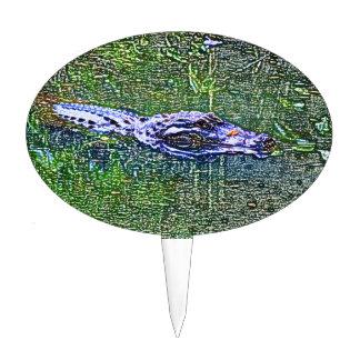 alligator swimming head color pencil effect cake topper