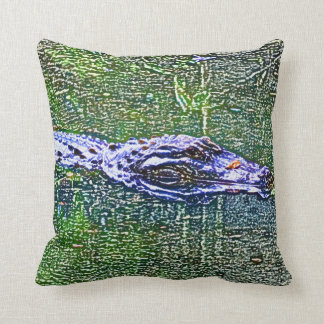 alligator swimming head color pencil effect pillow