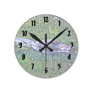 alligator swimming head color pencil effect round clock