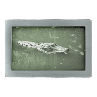 alligator swimming head green tint reptile belt buckle