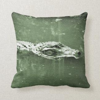 alligator swimming head green tint reptile pillow