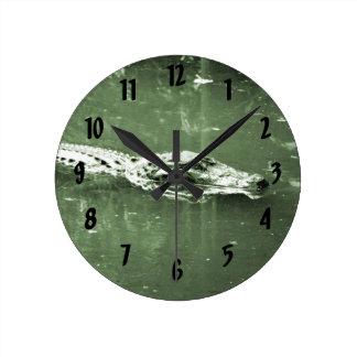 alligator swimming head green tint reptile round clock