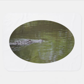 alligator swimming in water reptile animal baby blankets