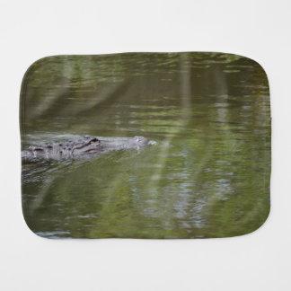 alligator swimming in water reptile animal baby burp cloths