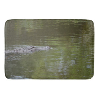 alligator swimming in water reptile animal bathroom mat