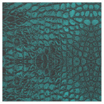 Alligator Teal Faux Leather Fabric