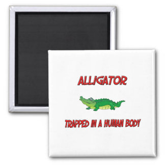 Alligator trapped in a human body fridge magnets