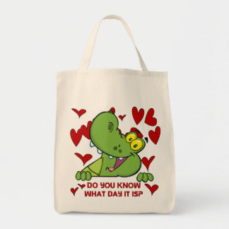 Alligator Valentines Day Canvas Bags