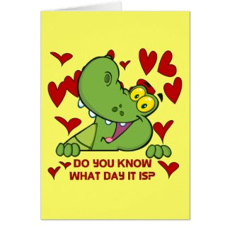 Alligator Valentines Day Greeting Card