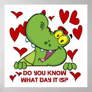 Alligator Valentines Day Poster
