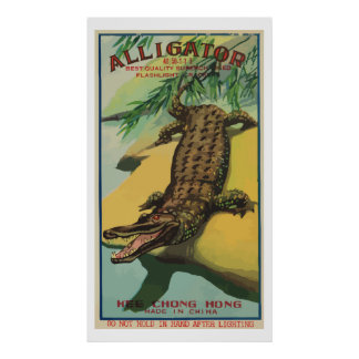 Alligator Vintage Chinese Firecracker Posters