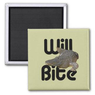 Alligator Will Bite 2 Inch Square Magnet