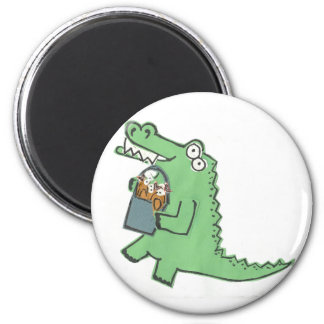 Alligator with fish magnet
