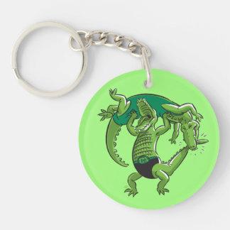 Alligator Wrestling Double-Sided Round Acrylic Keychain