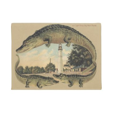 Beach Themed Alligators and Lighthouse, Welcome, Doormat