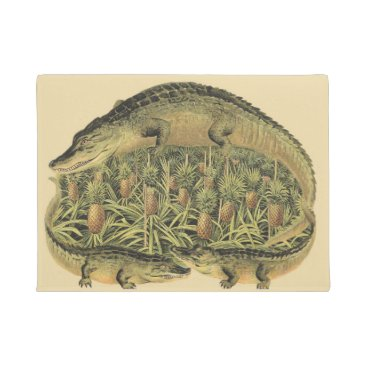 Beach Themed Alligators and Pineapples, Welcome, Doormat