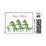 Alligators & Frog Christmas Postage Stamp