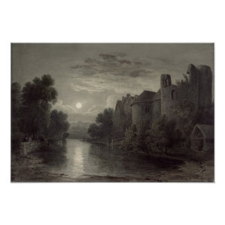 Allington Castle, near Maidstone, Kent; Moonlight Poster