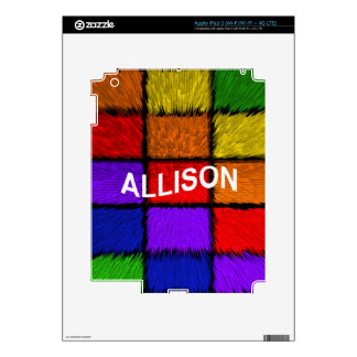 ALLISON ( female names ) Decals For iPad 3