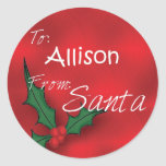Allison Personalized Holly Gift Tags From Santa Round Stickers