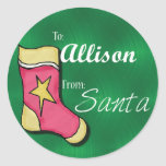 Allison Personalized Stocking Label Round Stickers