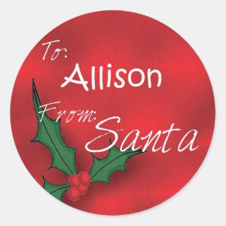 Allison personalizó etiquetas del regalo del acebo pegatina redonda