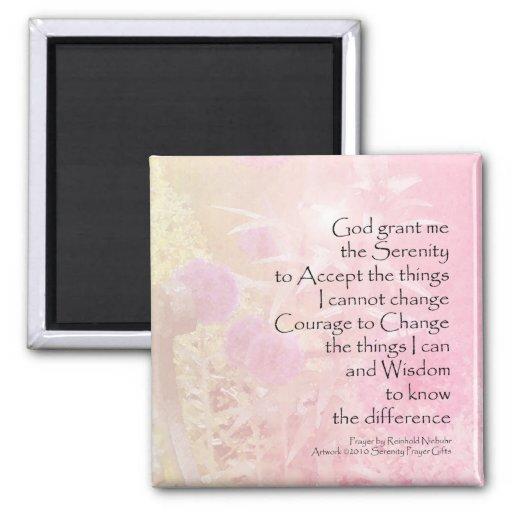 Allium del rosa del rezo de la serenidad imán cuadrado