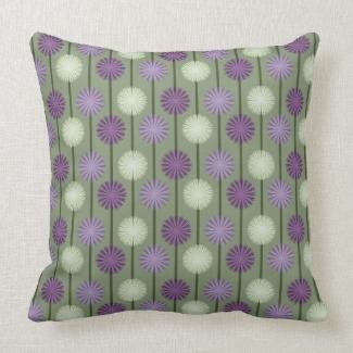 Allium Flower Pattern Purple and Green Pillow