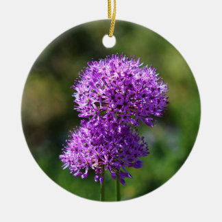Allium Double-Sided Ceramic Round Christmas Ornament
