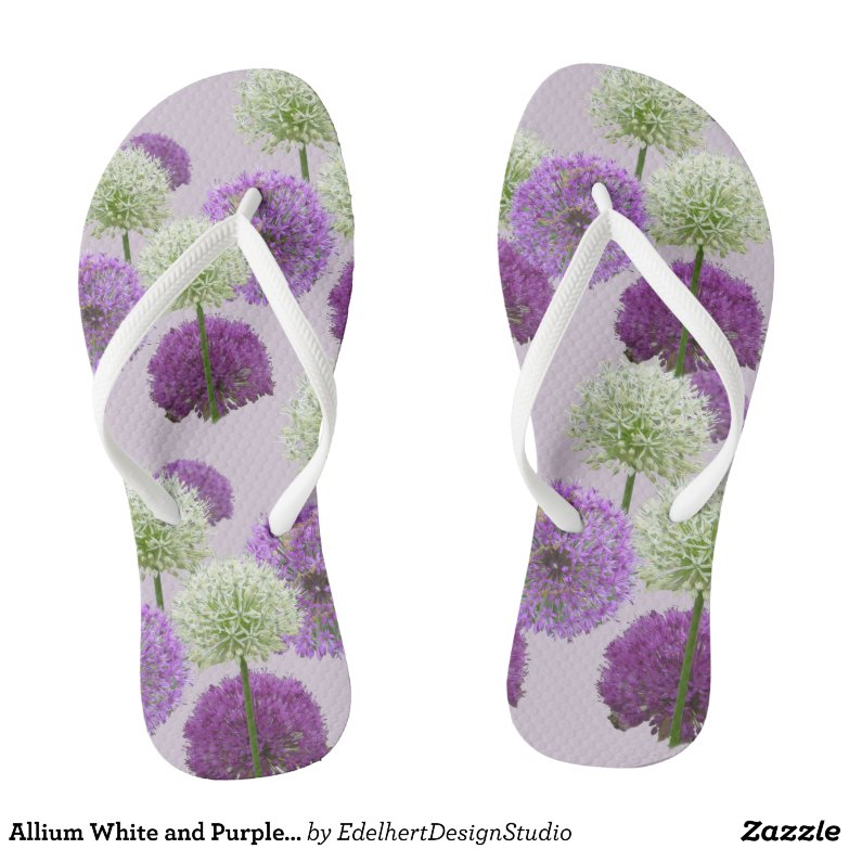 Allium White and Purple Adult Flip Flops