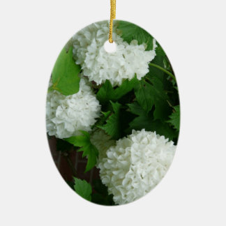Allium White Round Flowers Double-Sided Oval Ceramic Christmas Ornament