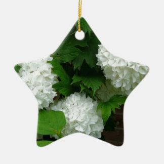 Allium White Round Flowers Double-Sided Star Ceramic Christmas Ornament