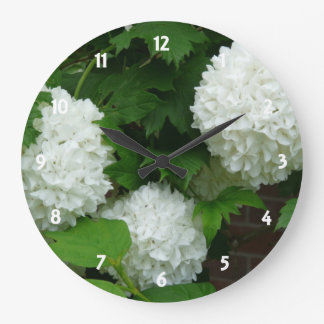 Allium White Round Flowers Large Clock