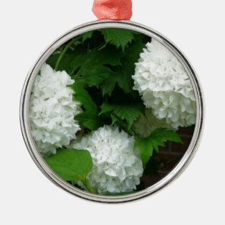 Allium White Round Flowers Round Metal Christmas Ornament